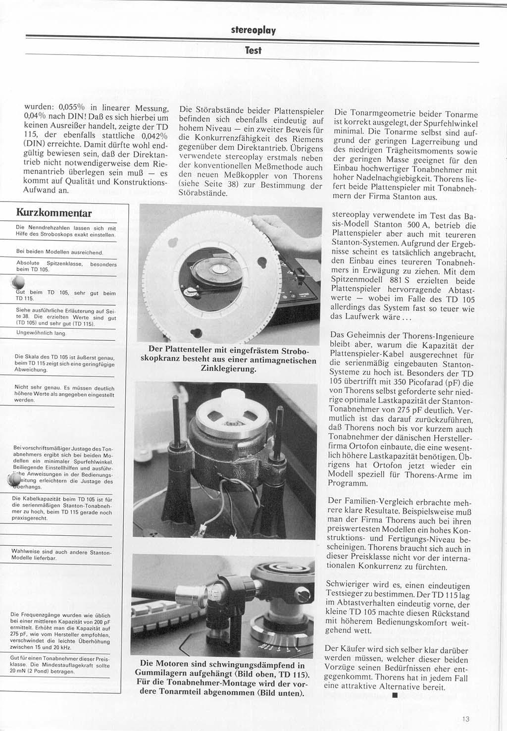 thorens td 104 td 105 turntable service manual